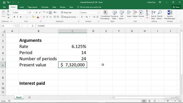 ISPMT: Calculating the interest paid during a specific period: Excel 2016: Financial Functions in Depth