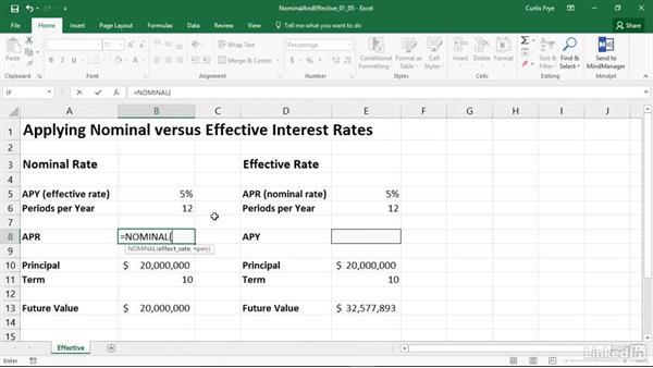 EFFECT and NOMINAL: Finding nominal and effective interest rates: Excel 2016: Financial Functions in Depth