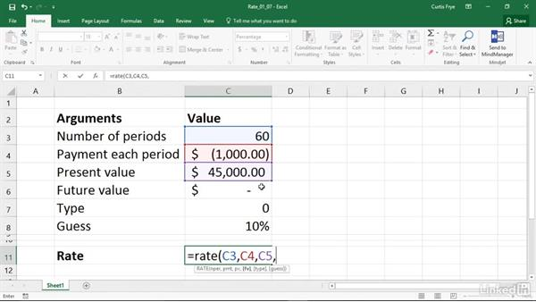 RATE: Discovering the interest rate of an annuity: Excel 2016: Financial Functions in Depth