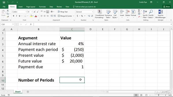 PDURATION: Calculating the number of periods to reach a specified value: Excel 2016: Financial Functions in Depth