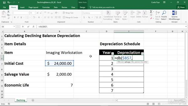 DB: Calculating depreciation using the declining balance method: Excel 2016: Financial Functions in Depth