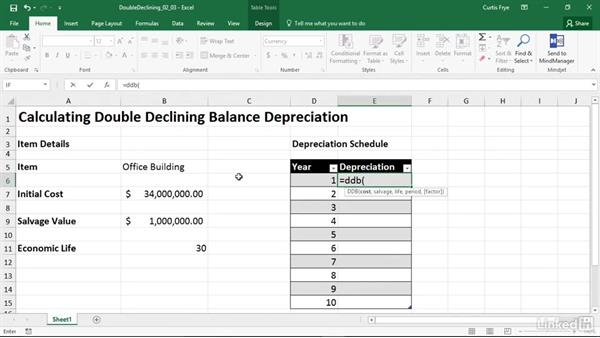 ddb  calculating depreciation using the double