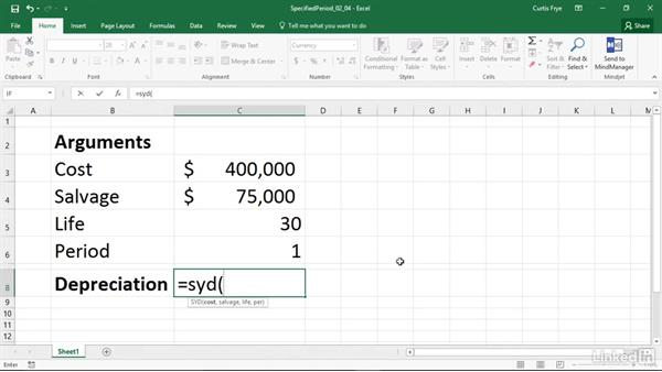 SYD: Calculating depreciation for a specified period: Excel 2016: Financial Functions in Depth