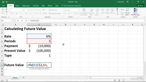 FV: Calculating the future value of an investment: Excel 2016: Financial Functions in Depth