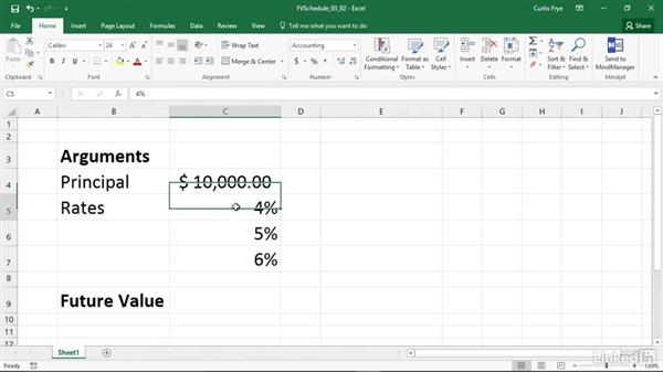FVSCHEDULE: Calculating the future value of an investment with variable returns: Excel 2016: Financial Functions in Depth