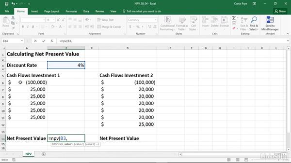 NPV: Calculating the net present value of an investment: Excel 2016: Financial Functions in Depth