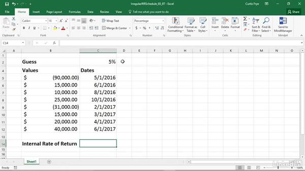 XIRR: Calculating internal rate of return for irregular cash flows: Excel 2016: Financial Functions in Depth