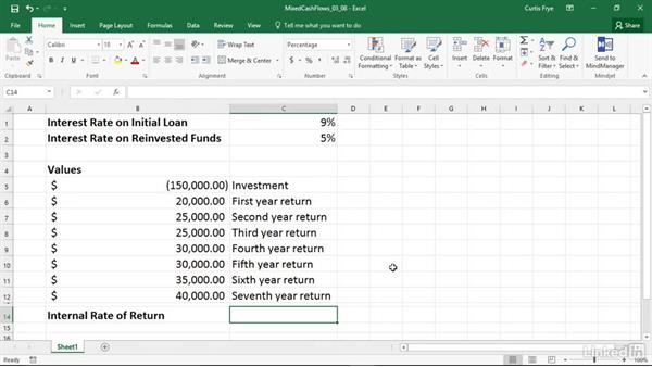 MIRR: Calculating internal rate of return for mixed cash flows: Excel 2016: Financial Functions in Depth