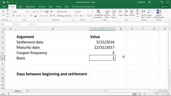 COUPDAYBS: Calculating total days between coupon beginning and settlement: Excel 2016: Financial Functions in Depth