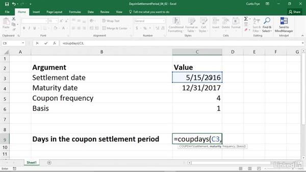 COUPDAYS: Calculating days in the settlement date's coupon period: Excel 2016: Financial Functions in Depth