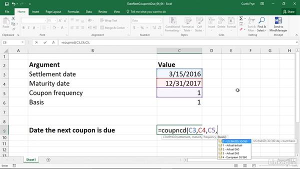 COUPNCD: Calculating the next coupon date after the settlement date: Excel 2016: Financial Functions in Depth