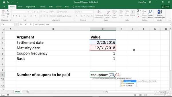 COUPNUM: Calculating the number of coupons between settlement and maturity: Excel 2016: Financial Functions in Depth
