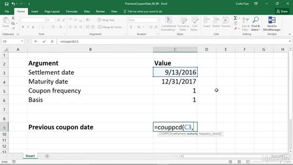 COUPPCD: Calculating the date of coupon due immediately before settlement: Excel 2016: Financial Functions in Depth