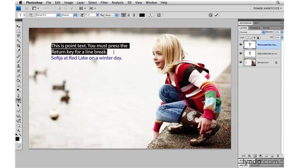 Selecting text on a type layer: Photoshop CS4 Power Shortcuts