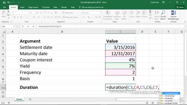DURATION: Calculating the annual duration of a security: Excel 2016: Financial Functions in Depth
