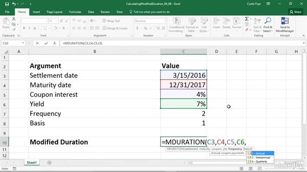 MDURATION: Calculating the duration of a security using the Macaulay's method: Excel 2016: Financial Functions in Depth