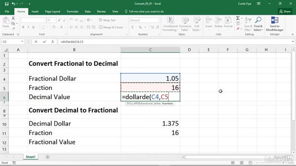 DOLLARDE and DOLLARFR: Converting between fractional prices and decimal prices: Excel 2016: Financial Functions in Depth