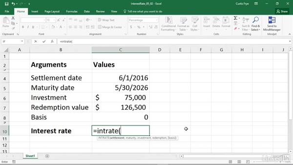 INTRATE: Calculating the interest rate of a fully invested security: Excel 2016: Financial Functions in Depth