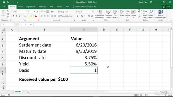 RECEIVED: Calculating the value at maturity of a fully invested security: Excel 2016: Financial Functions in Depth