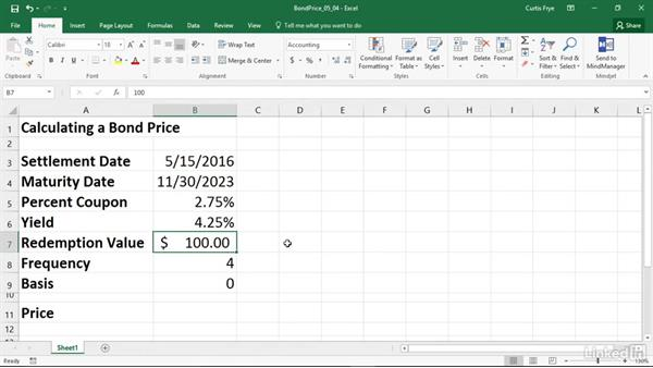 PRICE: Calculating the price of a security that pays periodic interest: Excel 2016: Financial Functions in Depth