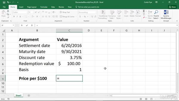 PRICEDISC: Calculating the price of a discounted security: Excel 2016: Financial Functions in Depth
