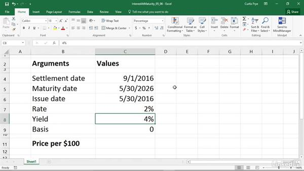 PRICEMAT: Calculating the price of a security that pays interest at maturity: Excel 2016: Financial Functions in Depth