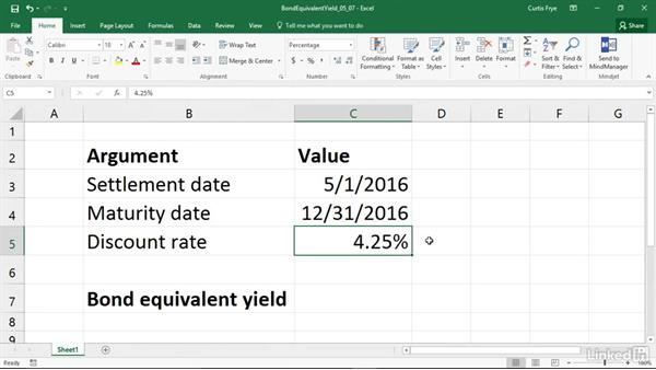 TBILLEQ: Calculating the bond-equivalent yield for a Treasury bill: Excel 2016: Financial Functions in Depth