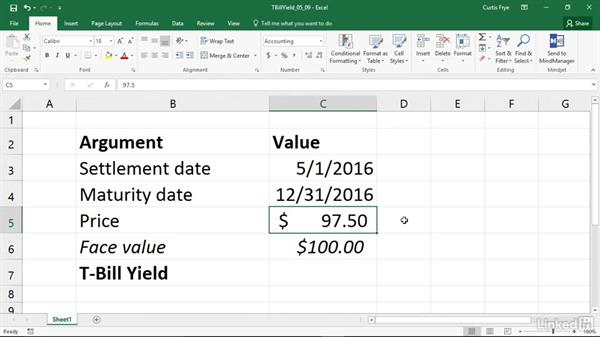 TBILLYIELD: Calculating the yield of a Treasury bill: Excel 2016: Financial Functions in Depth