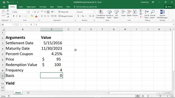 YIELD: Calculating the yield of a security that pays periodic interest: Excel 2016: Financial Functions in Depth