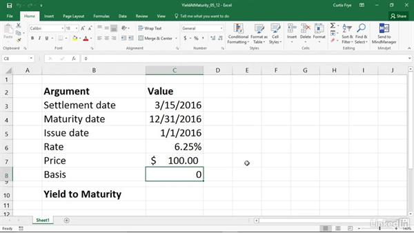 YIELDMAT: Calculating the annual yield of a security that pays interest at maturity: Excel 2016: Financial Functions in Depth