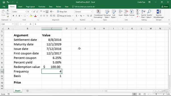 ODDFPRICE: Calculating the price of a security with an odd first period: Excel 2016: Financial Functions in Depth