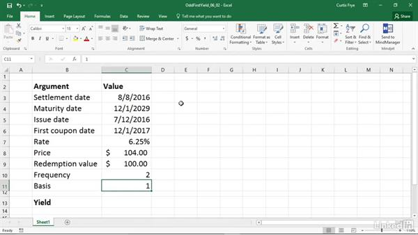 ODDFYIELD: Calculating the yield of a security with an odd first period: Excel 2016: Financial Functions in Depth