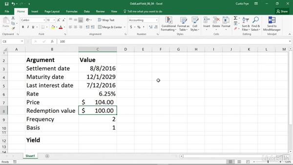 ODDLYIELD: Calculating the yield of a security with an odd last period: Excel 2016: Financial Functions in Depth