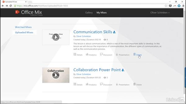 View and manage your mixes: Create Flipped Classroom Lessons with Office Mix