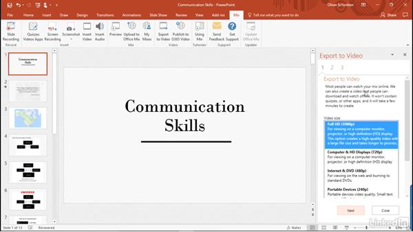 Export a mix as a video: Create Flipped Classroom Lessons with Office Mix