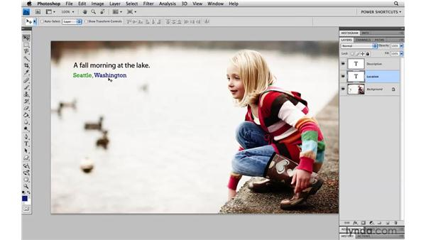 Changing type size and color: Photoshop CS4 Power Shortcuts