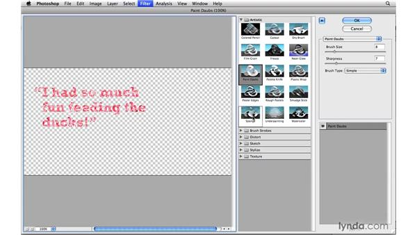 Using filters and keeping type editable: Photoshop CS4 Power Shortcuts