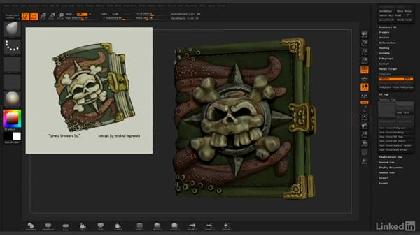 Completing UV layout and importing back to ZBrush: ZBrush: Rendering