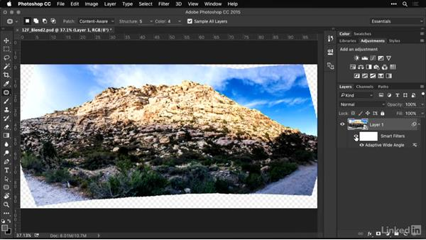 Using the Adaptive Wide Angle Filter to remove distortion: Shooting and Processing Panoramas