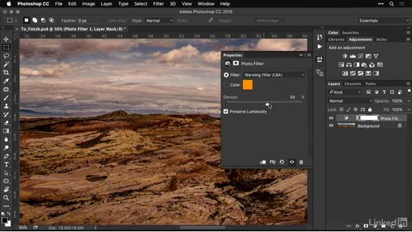 Using the photo filter adjustment layer: Shooting and Processing Panoramas