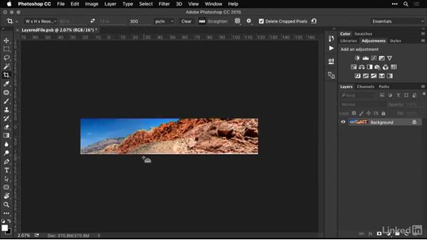 Cropping a panoramic photo to a target size and resolution: Shooting and Processing Panoramas