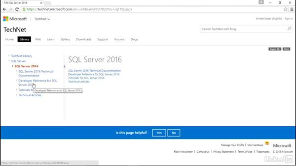 Locate SQL Server documentation: Learn Microsoft SQL Server 2016: The Basics
