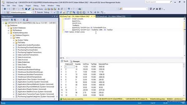 Use functions to calculate values: Learn Microsoft SQL Server 2016: The Basics
