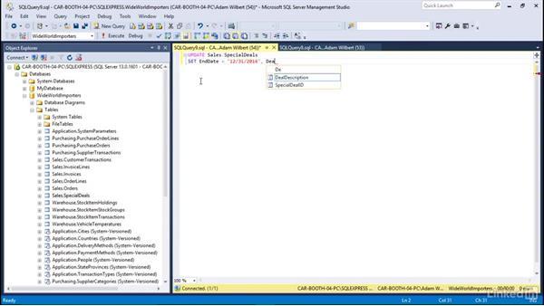 Write an UPDATE statement: Learn Microsoft SQL Server 2016: The Basics