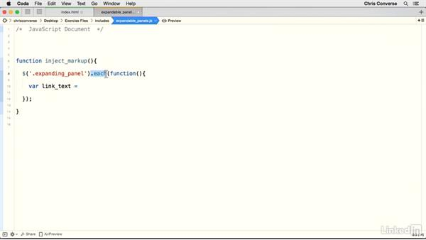 Create the functions for injecting HTML: Creating Expandable Panels with jQuery