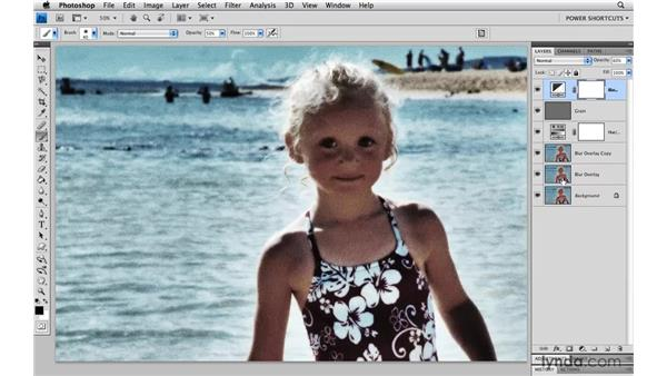 Adding a layer mask on a layer group: Photoshop CS4 Power Shortcuts