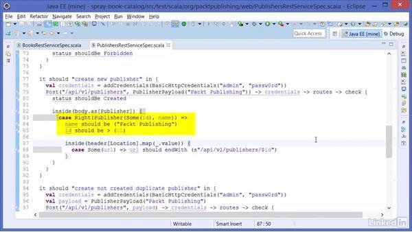 Unit testing Spray RESTful web services: Learning Scala Web Development