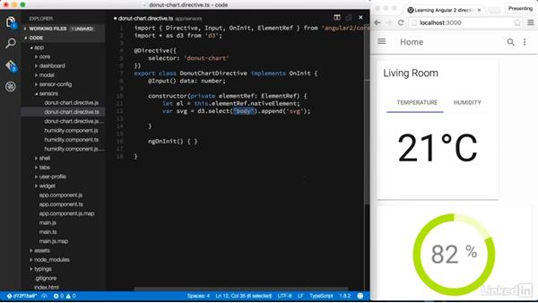 Integrating an external library—Data visualization with D3: Learning Angular 2 Directives