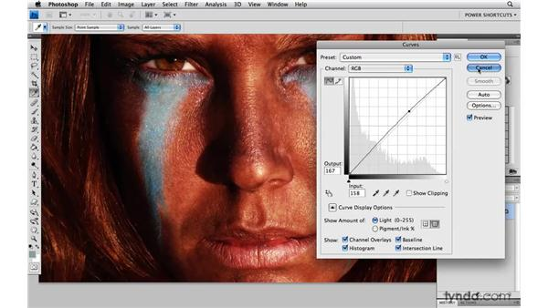 Setting a curve point in the composite channel: Photoshop CS4 Power Shortcuts
