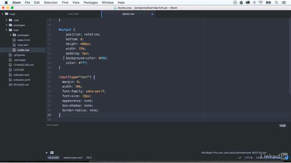 Adding some styles to our web application: Learning Dart